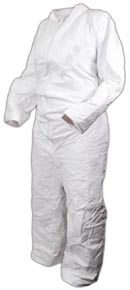 white impervious chemical suit