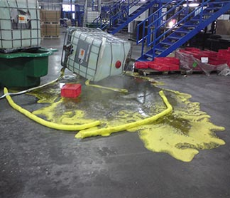 sulfuric acid spill from IBC