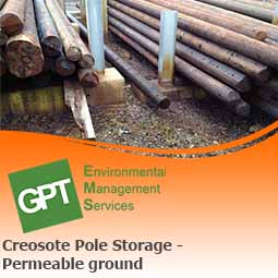 creosote pole storage on soil